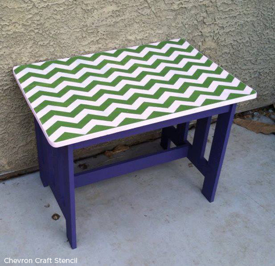 Love Chevron? Use the chevron craft stencil to add the perfect zig zag stripe to your table! http://www.cuttingedgestencils.com/chevron-stencil-templates-stencils.html