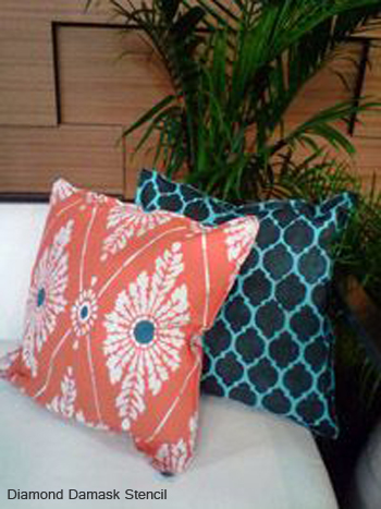 Create your own throw pillow using the Diamond Damask Stencil! http://www.cuttingedgestencils.com/damask-stencil-pattern.html#desc