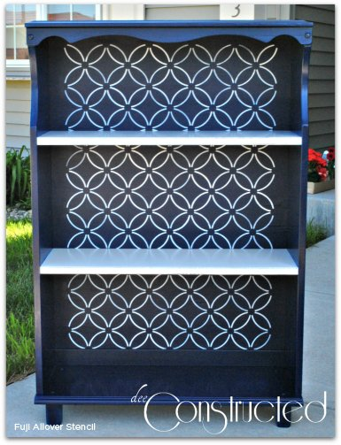 Makeover an old bookcase using the Nagoya Stencil to get this awesome look! http://www.cuttingedgestencils.com/japanese-stencil-nagoya.html