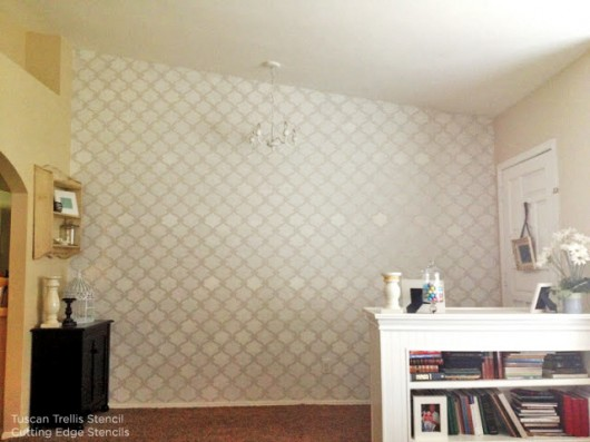 Stencil an accent wall using the Tuscan Trellis Stencil to liven up your space! http://www.cuttingedgestencils.com/tuscan-trellis-allover-stencil.html