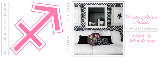 Love intricate pattern of the Trellis Allover Stencil in these high contrast colors! http://www.cuttingedgestencils.com/allover-stencil.html