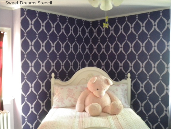 Have sweet dreams in this purple Sweet Dreams Stenciled bedroom! http://www.cuttingedgestencils.com/stencil-dreams.html