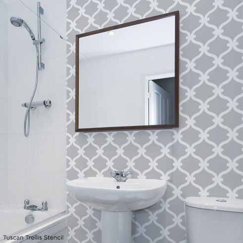 Use the Tuscan Trellis Stencil to get this gorgeous look! http://www.cuttingedgestencils.com/tuscan-trellis-allover-stencil.html