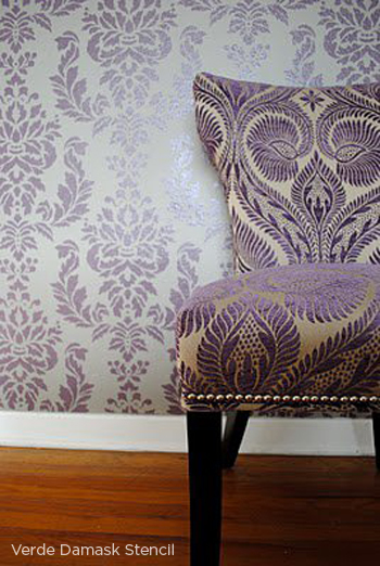 Use the Verde Damask Stencil from Cutting Edge Stencils to get this stunning accent wall! http://www.cuttingedgestencils.com/damask-stencil-wallpaper.html