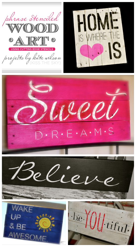 Phrase stencil and reclaimed wood are the perfect combo to create gorgeous wall art! http://www.cuttingedgestencils.com/wall-quotes-stencils-quotes-for-walls.html