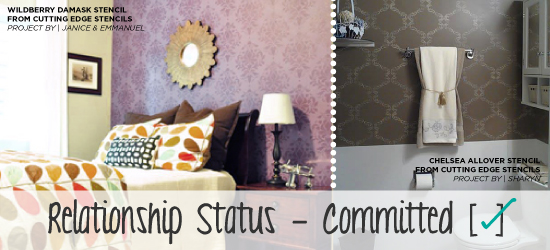 Stenciling one wall or all four is the great way to add pattern and eye catching appeal to any room! http://www.cuttingedgestencils.com/stencils-damask-stencil-walls.html