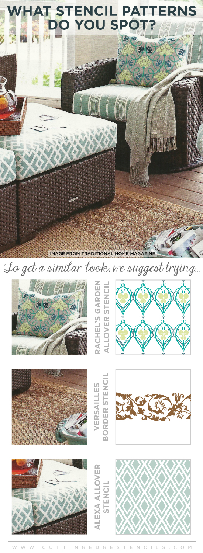 Love the pretty patterns in Elle Decor? Get these looks using Cutting Edge Stencils! http://www.cuttingedgestencils.com/stencil-allover-pattern-2.html #wallstencils #stencils