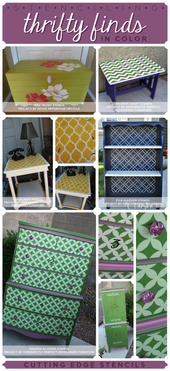 Stenciling furniture in bold colors to create a unique fun look! http://www.cuttingedgestencils.com/wall-stencils-stencil-designs.html