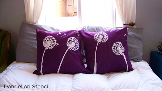 Create the perfect purple pillow using the Dandelion Stencil from Cutting Edge Stencils. http://www.cuttingedgestencils.com/dandelion-stencil.html