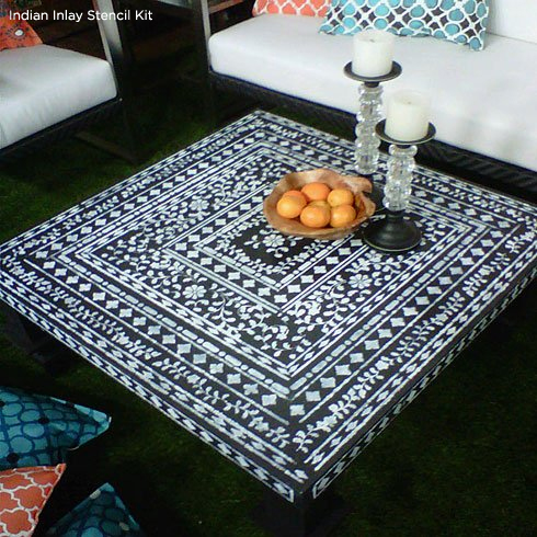 Use the Indian Inlay Stencil Kit to create this gorgeous table! http://www.cuttingedgestencils.com/indian-inlay-stencil-furniture.html