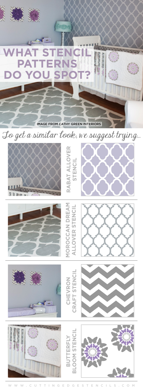 Love the pretty patterns in Elle Decor? Get these looks using Cutting Edge Stencils! http://www.cuttingedgestencils.com/moroccan-stencil-pattern-3.html #wallstencils #stencils