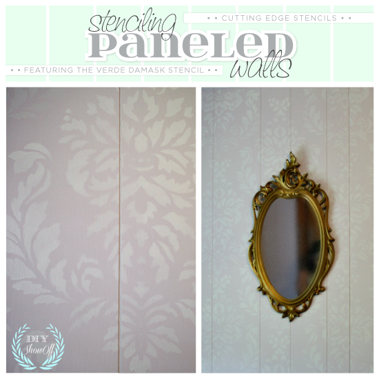 Stenciling on paneled walls is easy and looks gorgeous! Here the Verde Damask Stencil has been stenciled on paneling.http://www.cuttingedgestencils.com/damask-stencil-wallpaper.html