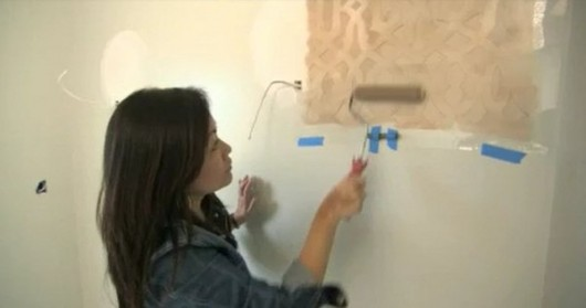 Alice T. Chan stenciling a bathroom in a makeover project for HGTV's Power Broker. http://www.cuttingedgestencils.com/allover-stencil.html