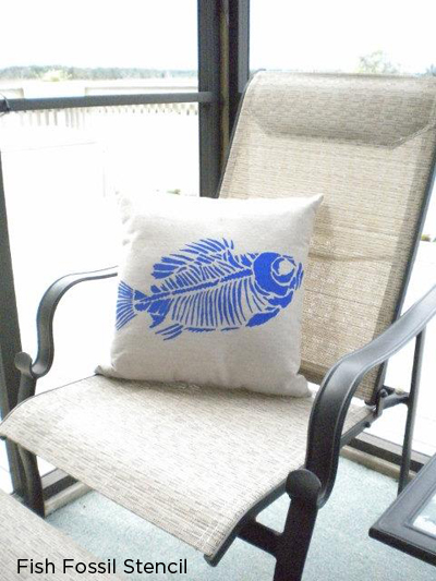 Stencil the fish fossil pattern in blue to create your own nautical home decor! http://www.cuttingedgestencils.com/wall-stencil-fossil.html