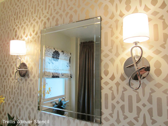 The Trellis Stencil from Cutting Edge Stencils was used in the bathroom makeover on HGTV's Power Broker! http://www.cuttingedgestencils.com/allover-stencil.html