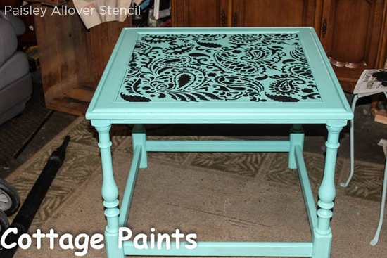 Stencil a small painted table with the Paisley Allover Stencil from Cutting Edge Stencils. http://www.cuttingedgestencils.com/paisley-allover-stencil.html