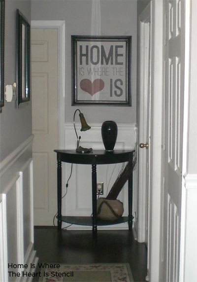 Stencil and frame this wall stencil, Home is Where the Heart Is from Cutting Edge Stencils. http://www.cuttingedgestencils.com/home-is-wall-quote-stencil.html