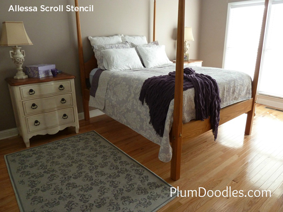 Stencil the Allessa Scroll Stencil to add a Summer flower touch to your bedroom! http://www.cuttingedgestencils.com/scroll-stencil-1.html