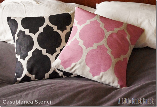 Stencil some bedroom throw pillows in fun colors using the Casablanca Stencil  to add some summer fun to your bedroom http://www.cuttingedgestencils.com/allover-stencils.html