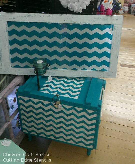 Paint the Chevron Craft Stencil from Cutting Edge Stencils in a fun blue shade to get this look! http://www.cuttingedgestencils.com/chevron-stencil-templates-stencils.html