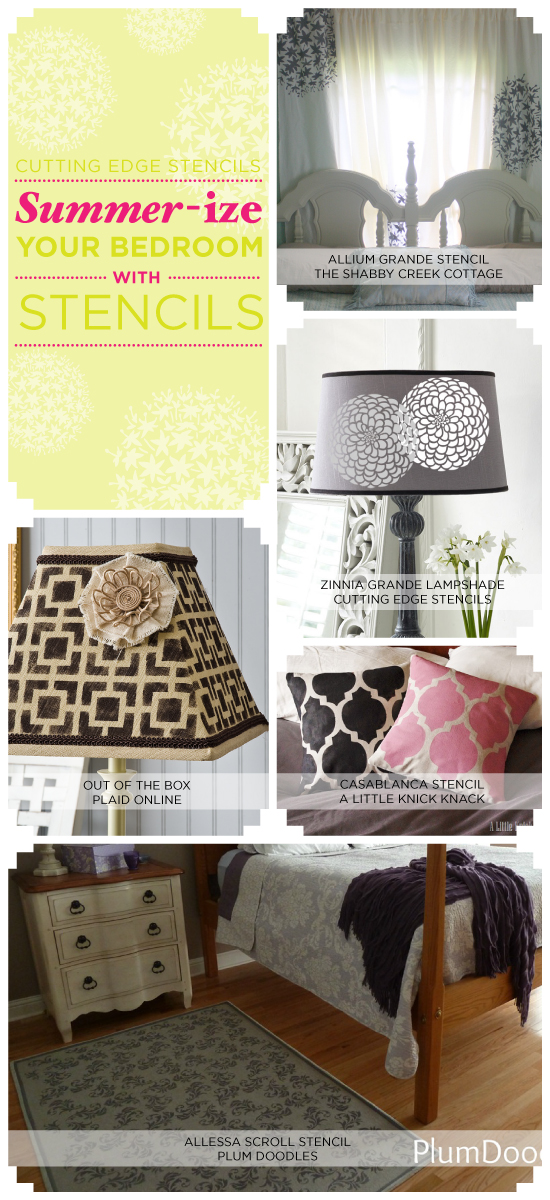 Stencils can add stylish summer appeal to your bedroom space! http://www.cuttingedgestencils.com/stencils-flower-stencil.html