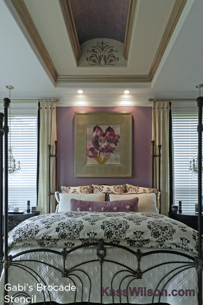 Use the Gabi's Brocade Stencil from Cutting Edge Stencils in your bedroom to get a similar stunning look! http://www.cuttingedgestencils.com/wallpaper-damask-stencil.html