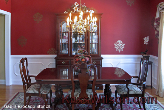 Gorgeous red dining room stenciled with the Gabi's Brocade Stencil from Cutting Edge Stencils.http://www.cuttingedgestencils.com/wallpaper-damask-stencil.html