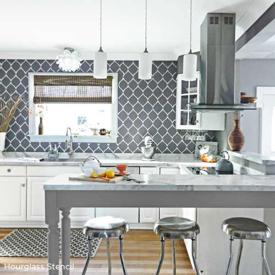 Paint The Hourgl Allover Stencil In Gray And White To Create A Gorgeous Kitchen Backsplash