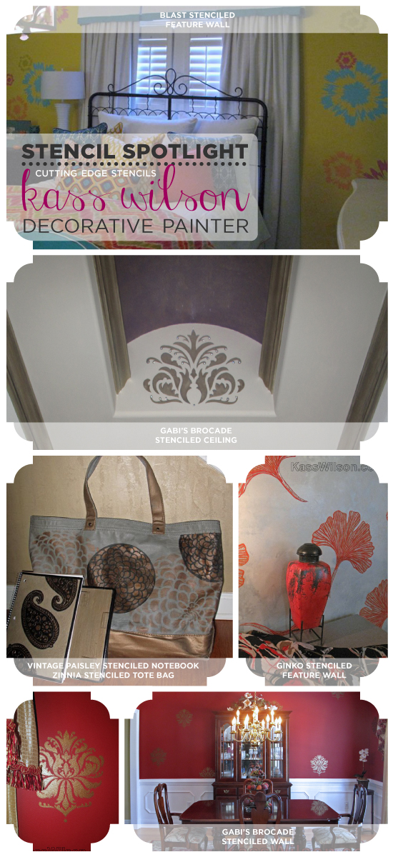 Gorgeous stenciled spaces painted by Kass Wilson, a decorative artist who uses Cutting Edge Stencils to beautifu her spaces!  http://www.cuttingedgestencils.com/wallpaper-damask-stencil.html