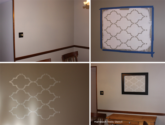 Stencil a section of your wall using the Marrakech Trellis Stencil and then add a gorgeous frame to create stenciled wall art!http://www.cuttingedgestencils.com/moroccan-stencil-marrakech.html