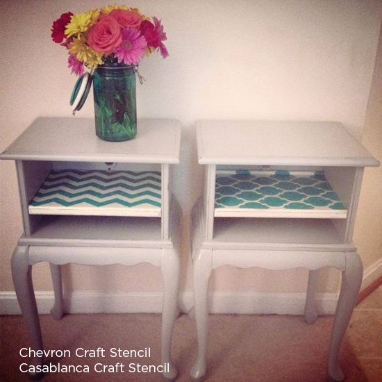Craft stencils like the chevron craft or casablanca craft stencil can add the perfect touch to painted furniture! http://www.cuttingedgestencils.com/craft-furniture-stencil.html