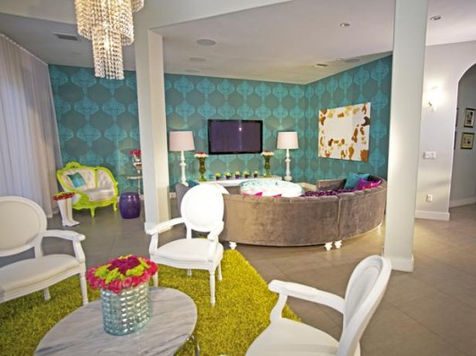 David Bromstad from HGTV used the Rachel Brocade stencil from Cutting Edge Stencil in this contemporary living room!http://www.cuttingedgestencils.com/stencil-allover-pattern-2.html