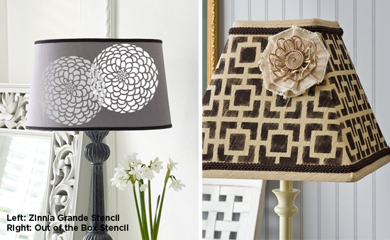 Stencil a lampshade either using a flower stencil like the Zinnia Grande Stencil or the Out of the Box geometric stencil. http://www.cuttingedgestencils.com/flower-stencil-zinnia-wall.html