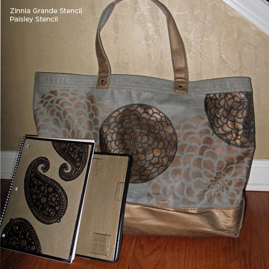 Create your own glam purse and notepad using stencils! Like this Zinnia Grande Stencil! http://www.cuttingedgestencils.com/flower-stencil-zinnia-wall.html