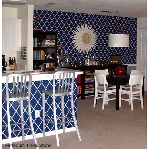 Paint and stencil your kitchen island using the Harlequin Trellis Stencil in blue! http://www.cuttingedgestencils.com/trellis-stencil-harlequin.html