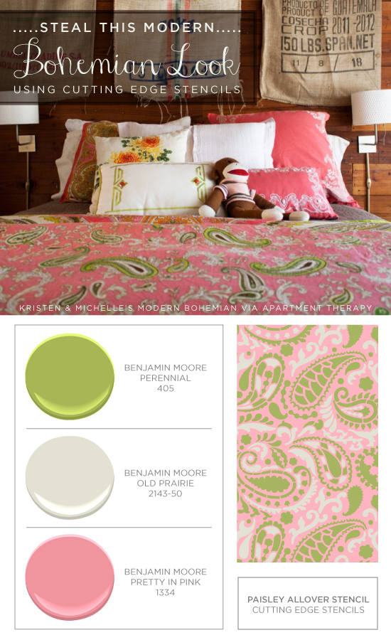 Make your own Paisley Allover stenciled bedding to get this look! http://www.cuttingedgestencils.com/paisley-allover-stencil.html
