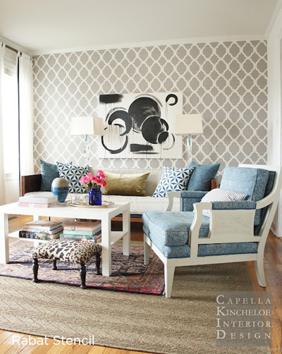 A Rabat Stenciled Accent Wall In A Living Room Adds Great Visual Interest  To The Space
