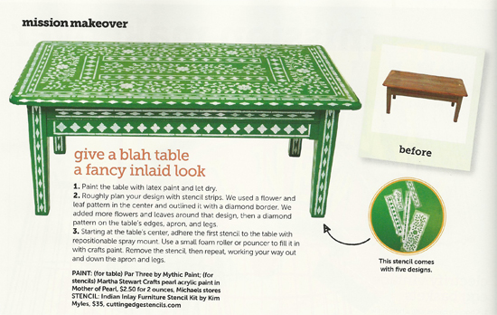 Indian Inlay stenciled table using Cutting Edge Stencils found in the September issue of HGTV Magazine! http://www.cuttingedgestencils.com/indian-inlay-stencil-furniture.html