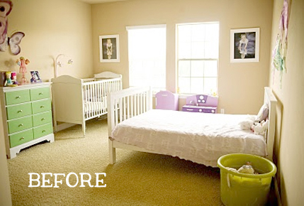 A simple little girl's bedroom before it was beautified with stencils and color! http://www.cuttingedgestencils.com/scroll-stencil.html