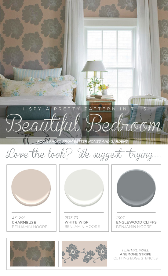 Paint the Anemone Stripe Stencil to get this soft feminine look in your bedroom! http://www.cuttingedgestencils.com/flower-stencil-stripe.html