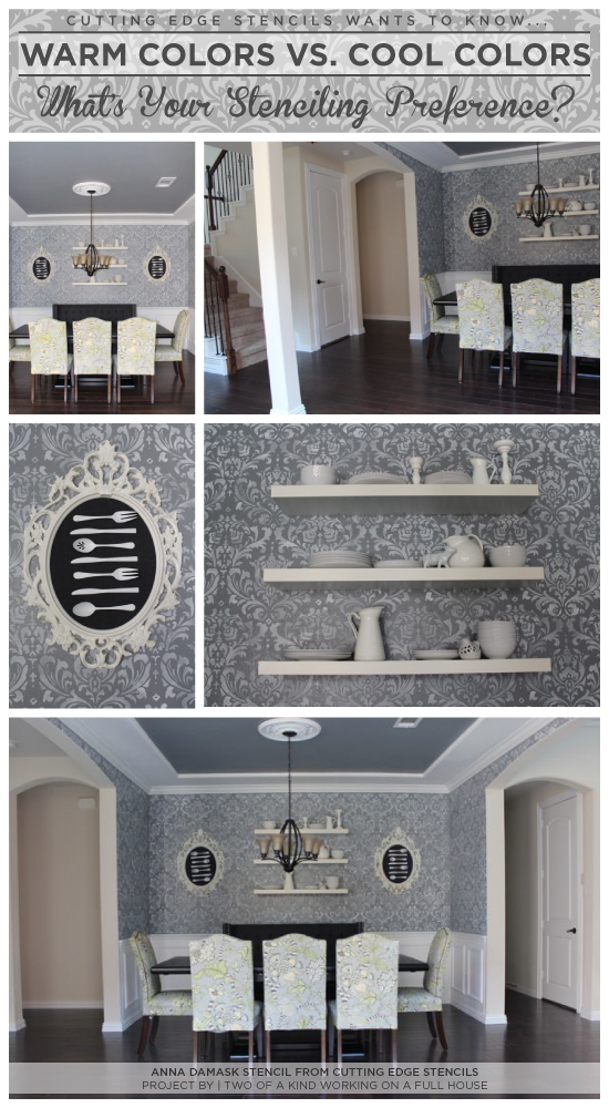 Use the Anna Damask Stencil from Cutting Edge Stencils in a cool grey tone to get the look of this stenciled dining room.http://www.cuttingedgestencils.com/damask-stencil.html