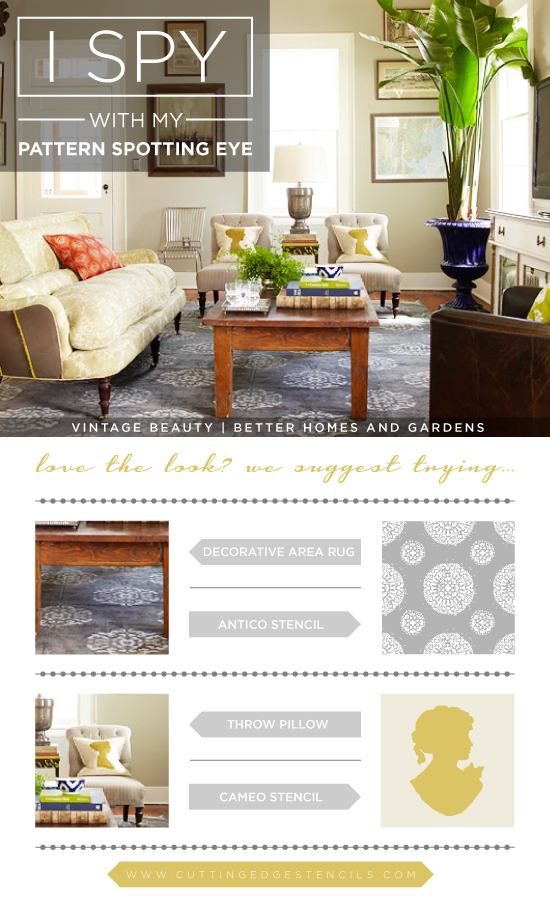 Stencil the look of these gorgeous designer home decor looks using Cutting Edge Stencils! http://www.cuttingedgestencils.com/antico-allover-wall-pattern.html