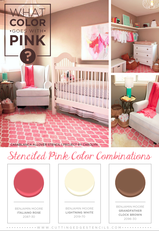 Stenciled Pink And Brown Color Combination Using The Casablanca Stencil Benjamin Moore Paints Http
