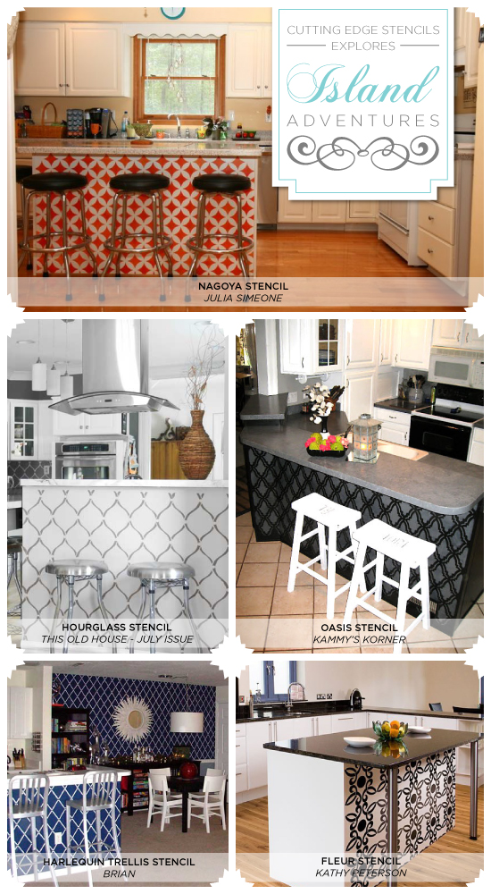 Cutting Edge Stencils Explores Island Adventures on oak kitchen island ideas, kitchen island with wheels, kitchen pantry storage ideas, kitchen island storage ideas,