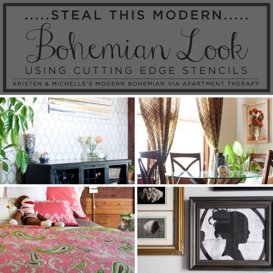 Using stencil designs to steal the look of this Modern Bohemian home found on Apartment Therapy! http://www.cuttingedgestencils.com/wall-stencils-stencil-designs.html