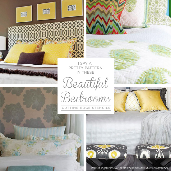 Stenciled bedroom decor using Cutting Edge Stencils. http://www.cuttingedgestencils.com/wall-stencils-stencil-designs.html