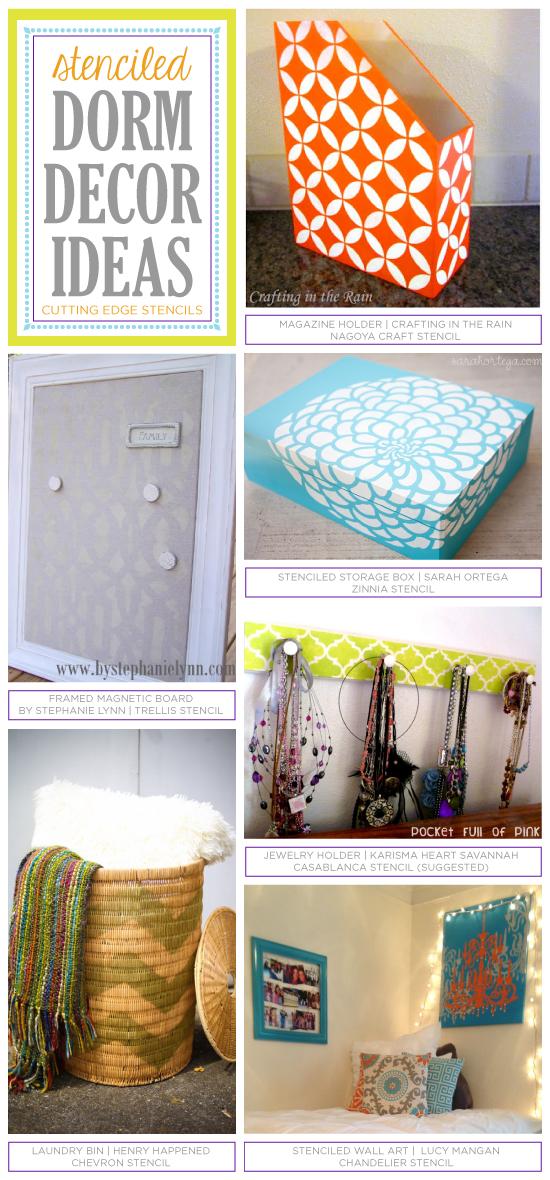 Cutting Edge Stencils shares six crafty dorm decor ideas using stencils! http://www.cuttingedgestencils.com/wall-stencils-stencil-designs.html