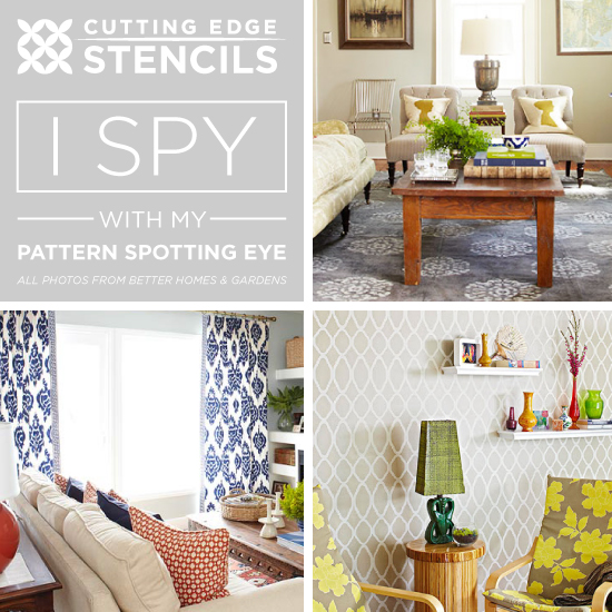 Stencil the look of these gorgeous designer home decor looks using Cutting Edge Stencils!http://www.cuttingedgestencils.com/wall-stencils-stencil-designs.html