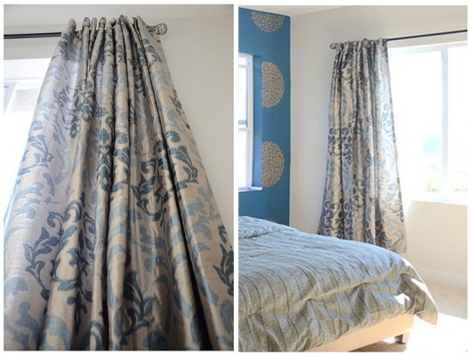 Stencil your own curtains using the Anna Damask Stencil pattern to get a look like this! http://www.cuttingedgestencils.com/damask-stencil.html