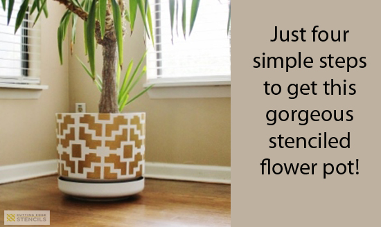 Stenciling a flower pot in four simple steps using the Shipibo Craft Stencil! http://www.cuttingedgestencils.com/shipibo-craft-stencil.html